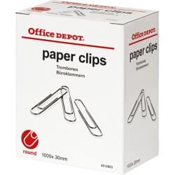 Office Depot Paper Clips Large Silver 30 mm 1000 pieces