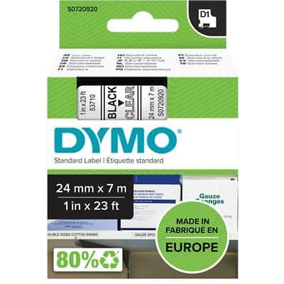 DYMO D1 53710 Label Tape, Authentic, Self Adhesive, Black Print on Clear 24 mm x 7 m