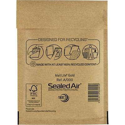 Mail Lite Mailing Bags A/000 Gold Plain Peel and Seal 160 x 110 mm Pack of 100