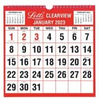 Letts Monthly Calendar 238 x 238 mm 2021 Red