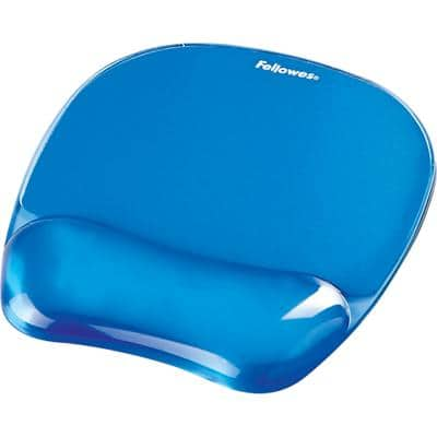 Fellowes Mouse Pad with Wrist Support Crystal Gel Blue