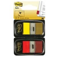 Post-it Index Flags 680-RY2 Red, Yellow Plain 25,4 x 43,2 mm 50 Sheets Pack of 2
