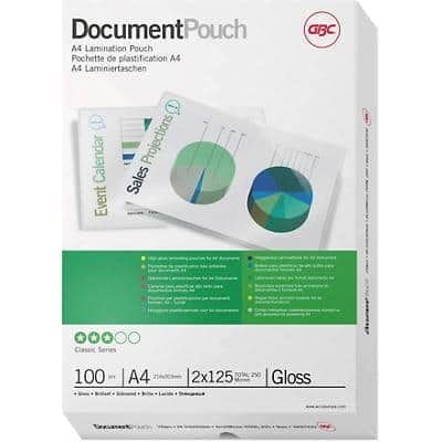 GBC Laminating Pouches Glossy 2 x 125 (250 Micron) A4 100 Pieces