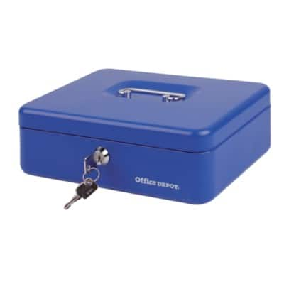 Office Depot Cash Box Blue 8.1 x 26 x 18.5 cm