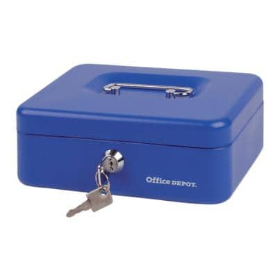 Office Depot Money Box with Key Lock 204 x 150 x 74mm Blue