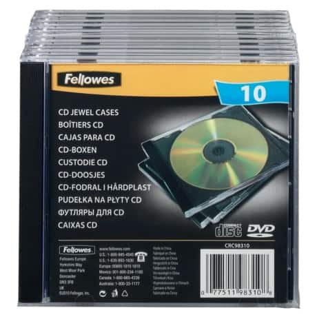 Fellowes Single Capacity CD Jewel Cases - 10Pk