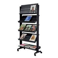Paperflow Freestanding Literature Display with 5 Shelves for 3 x A4+ Black