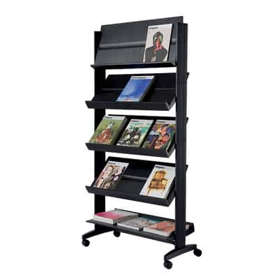 Paperflow Literature Display Free Standing with 5 Shelves 15 x A4 Black
