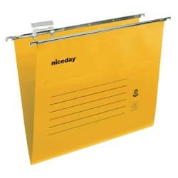 Niceday coloured suspension files yellow foolscap - pack of 50
