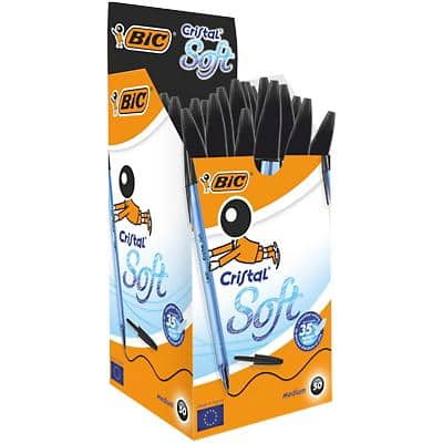 BIC Cristal Soft Ballpoint Pen Medium 0.4 mm Black Pack of 50