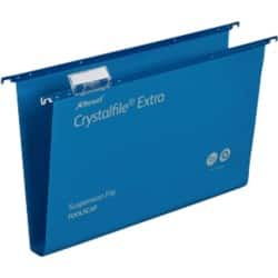 Rexel Crystalfiles Extra Suspension Files Polypropylene 30 mm Capacity Foolscap Blue - Box 25