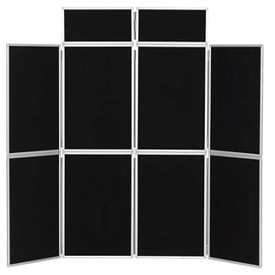 Freestanding Display Stand with 8 Panels Nyloop Fabric Foldaway 619 x 316 mm Black