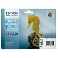 Epson T0487 Original Ink Cartridge C13T04874010 Black & 5 Colours Pack of 6