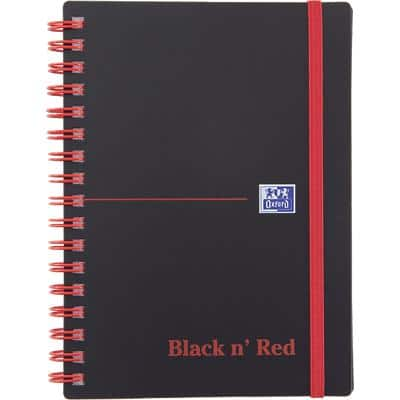 OXFORD Black n' Red A6 Wirebound Poly Cover Notebook Ruled 140 Pages