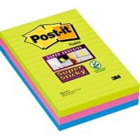 Post-it Super Sticky Large Lined Notes 101 x 152 mm Assorted 3 Pads of 45 Sheets