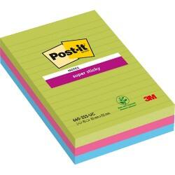 Post-it Super Sticky Notes Ultra Assorted Ruled 152 x 101 mm 70gsm 3 pieces of 45 sheets