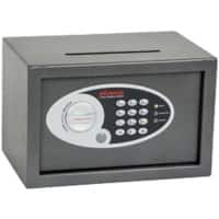 Phoenix Deposit Home & Office Size 1 Security Safe with Electronic Lock 10L Vela SS0801ED  200 x 310 x 200mm Metallic Graphite