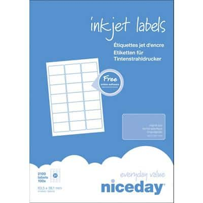 Niceday Inkjet Labels 63.5 x 38.1 mm Adhesive White 100 Sheets Pack of 2100 Labels