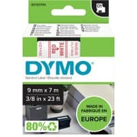 DYMO Labelling Tape 40915 9 mm x 7 m Red , White