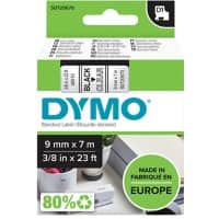 DYMO D1 40910 Label Tape, Authentic, Self Adhesive, Black Print on Clear 9 mm x 7 m