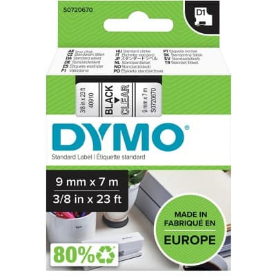 DYMO Labelling Tape 40910 9 mm x 7 m Black , Transparent