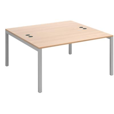 Rectangular Back to Back Desk with Beech Coloured Melamine & Steel Top and Silver Frame 4 Legs Connex 1400 x 1600 x 725 mm