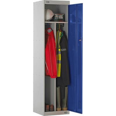 LINK51 Steel Locker with 1 Door Standard Deadlock Lockable with Key 450 x 450 x 1800 mm Grey & Blue