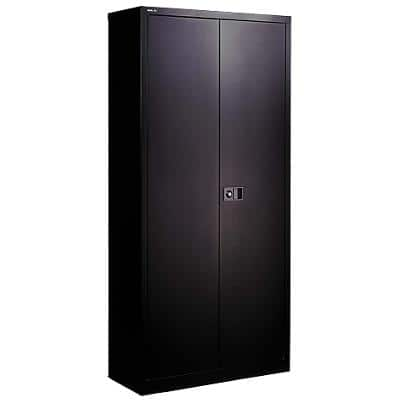 Bisley Double Door Cabinet Lockable with 4 Shelves Steel 914 x 457 x 1968mm Black