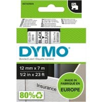 DYMO Labelling Tape 45010 12 mm x 7 m Black , Transparent