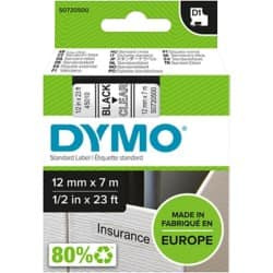 DYMO Labelling Tape 45010 12 mm x 7 m black / transparent
