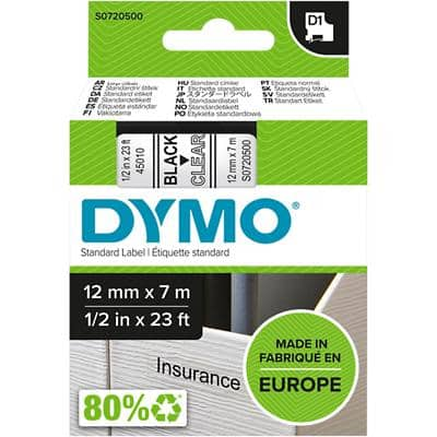 DYMO D1 Labelling Tape 45010 Black on Clear 12 mm x 7 m