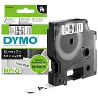 DYMO D1 45013 Label Tape, Authentic, Self Adhesive, Black Print on White 12 mm x 7 m