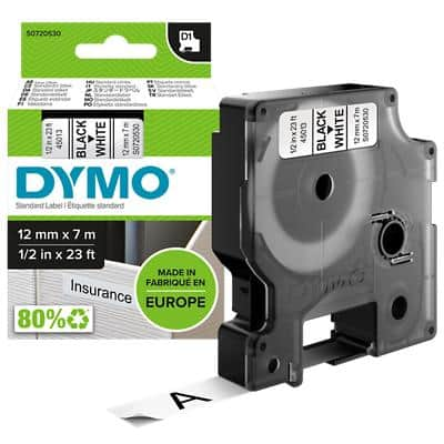 DYMO Labelling Tape 45013 12 mm x 7 m Black , White