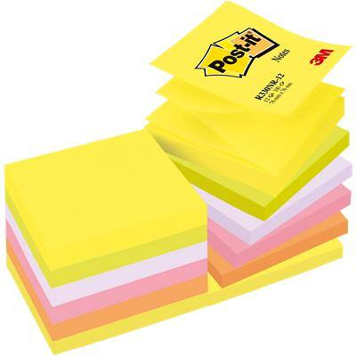 Post-it Sticky Z-Notes 76 x 76 mm Assorted 12 Pads of 100 Sheets