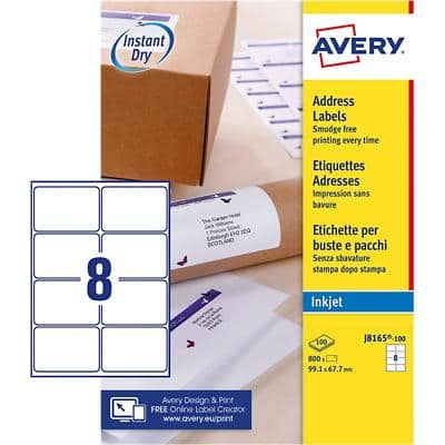 AVERY Parcel Labels J8165-100 White Self Adhesive 99.1 x 67.7 mm 800 Labels
