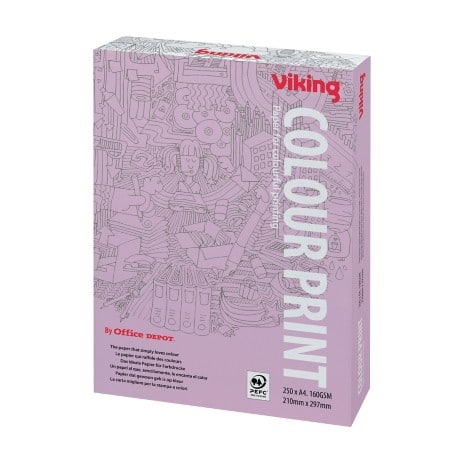 Viking Colourprint A4 160gsm paper – white (250 sheets)