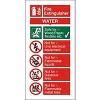 Fire Extinguisher Sign Water Vinyl 10 x 20 cm