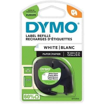 DYMO LetraTag Labelling Tape 91200 Black on White 12 mm x 4 m