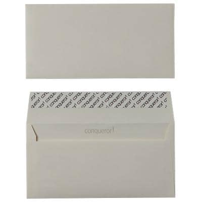 Conqueror DL Envelopes 220 x 110 mm Peel and Seal Plain 120gsm Wove Extra Smooth Cream Pack of 500