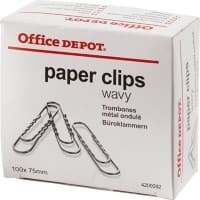 Office Depot Paper Clips Wavy 75mm Silver Pack of 100