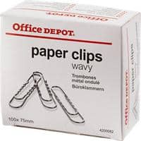Office Depot Paper Clips 75 mm Silver Pack of 100