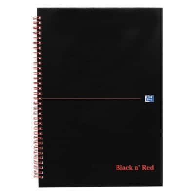 OXFORD Black n' Red Wirebound Hardback Notebook Ruled A5