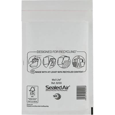 Mail Lite Mailing Bags B/00 79gsm White Plain Peel and Seal 210 x 120 mm Pack of 100
