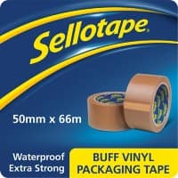 Sellotape Vinyl Packaging Tape 50mm x 66m Brown