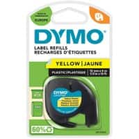 DYMO LetraTag 91202 Label Tape, Authentic, Self Adhesive, Black Print on Yellow 12 mm x 4 m