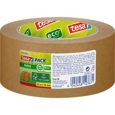 tesapack Packaging Tape Paper ecoLogo 50 mm x 50 m Brown