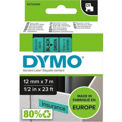 DYMO Labelling Tape 45019 12 mm x 7 m Black , Green