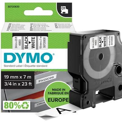 DYMO D1 45803 Label Tape, Authentic, Self Adhesive, Black Print on White 19 mm x 7 m