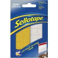 Sellotape Sticky Hook and Loop Pads Pre Cut White & Yellow Pack of 24