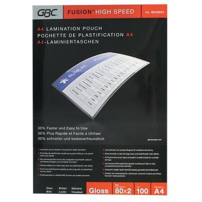 GBC Laminating Pouches Glossy 2 x 80 (160 Micron) A4 100 Pieces